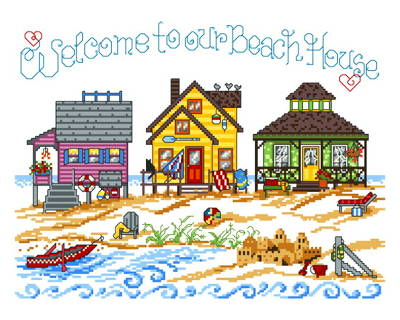 cross stitch pattern 3 Beach Houses