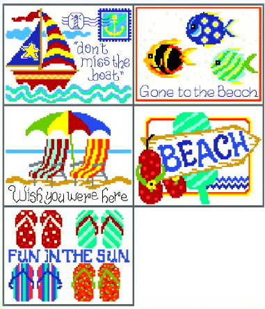 cross stitch pattern 5 Seaside Postcards