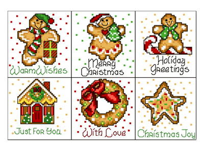 cross stitch pattern 6 Holiday Gingers