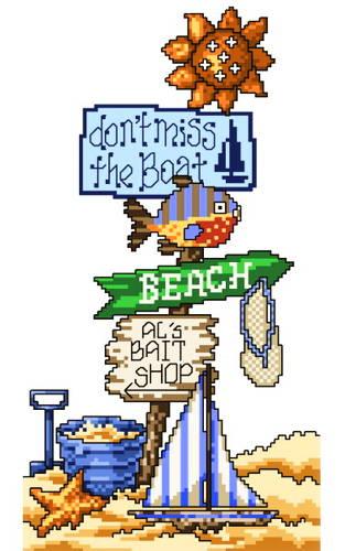 cross stitch pattern Don't Miss the Boat