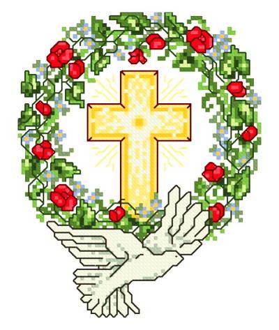 cross stitch pattern Dove with Wreath