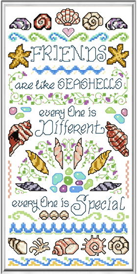 cross stitch pattern Friends are like Seashells