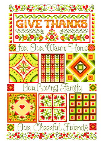 cross stitch pattern Give Thanks Quilt Sampler