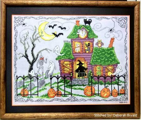 cross stitch pattern Halloween House