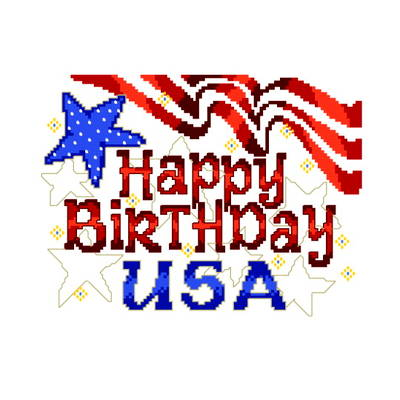 cross stitch pattern Happy Birthday USA