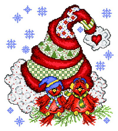 cross stitch pattern Holiday Tweet Hearts