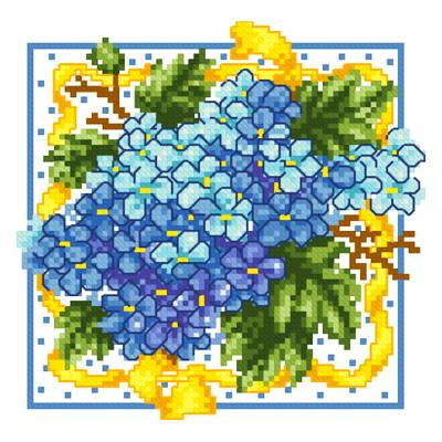 cross stitch pattern Hydrangea with Yellow Ribbon