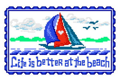 cross stitch pattern Life is Better Sailboat