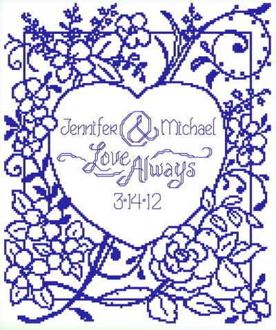 cross stitch pattern Love Always Wedding
