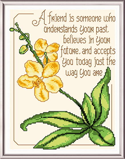 cross stitch pattern Orchid for a Friend