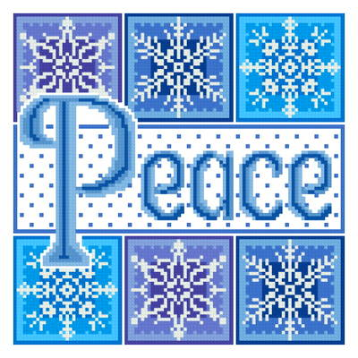 cross stitch pattern Peace plus Snowflakes