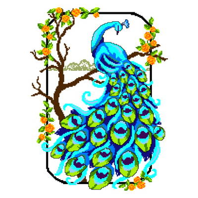 cross stitch pattern Royal Peacock