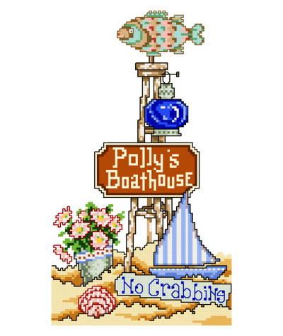cross stitch pattern Pollys Boat House