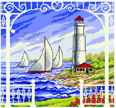 cross stitch pattern Porch Scene