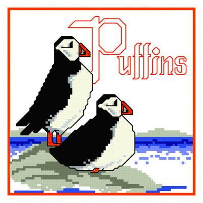 cross stitch pattern Puffins