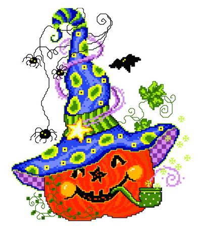 cross stitch pattern Pumpkin with Hat