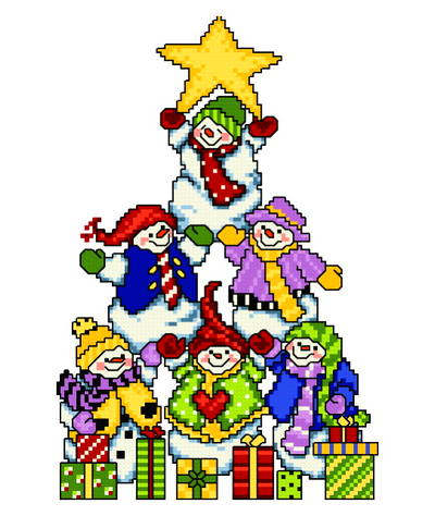 cross stitch pattern Snowman Tree