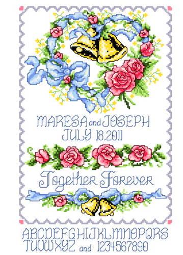 cross stitch pattern Wedding Bells Heart