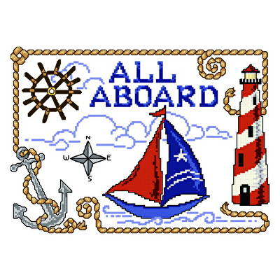 cross stitch pattern All Aboard Nautical