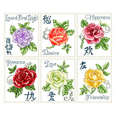 cross stitch pattern 6 Asian Roses