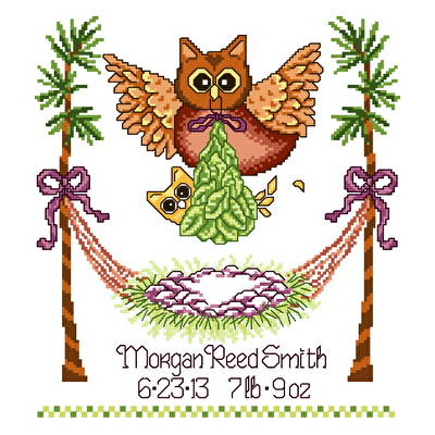 cross stitch pattern Baby Owl Birth Record