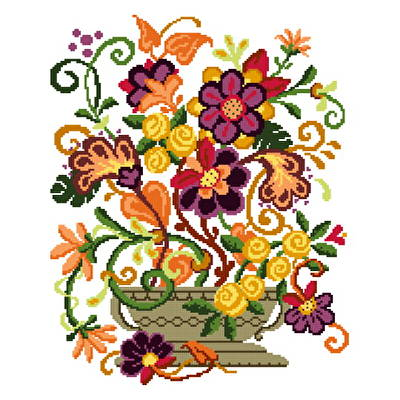 cross stitch pattern Fantasy Blooms