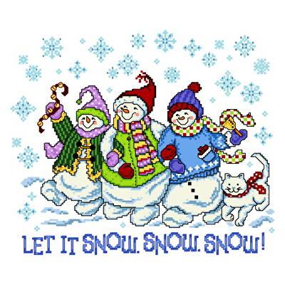 cross stitch pattern Holly Jolly Snowmen