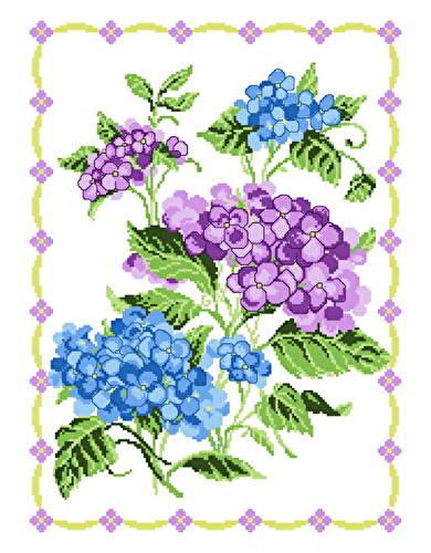 cross stitch pattern Hydrangeas