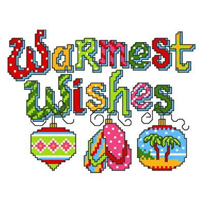 cross stitch pattern Island Christmas Greeting