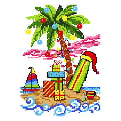 cross stitch pattern Island Christmas