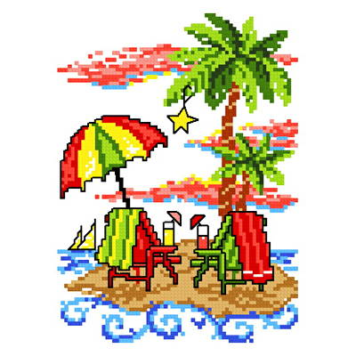 cross stitch pattern Island Christmas Retreat