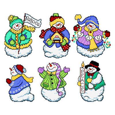 cross stitch pattern Joyous Snowmen