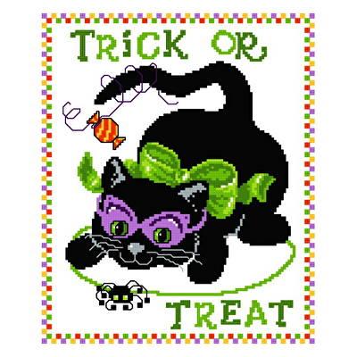cross stitch pattern Kitty Trick or Treat