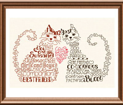 cross stitch pattern Let's Be Friends
