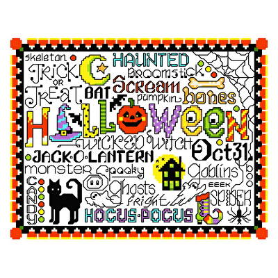 cross stitch pattern Let's Trick or Treat