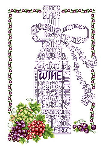 cross stitch pattern Let's Wine