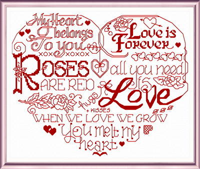 cross stitch pattern Let's Love