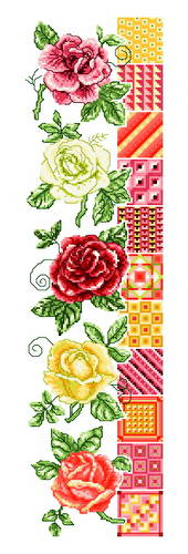 cross stitch pattern Roses and Quilts