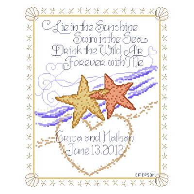 cross stitch pattern Starfish Wedding