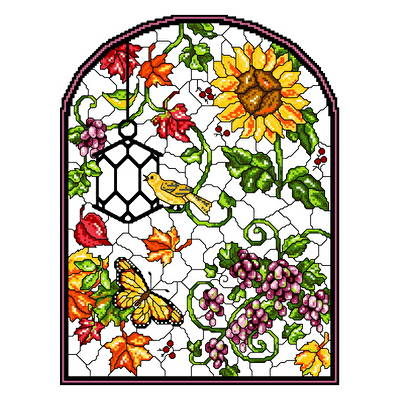 cross stitch pattern Stain Glass Autumn