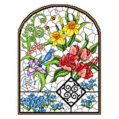 cross stitch pattern Stain Glass Spring