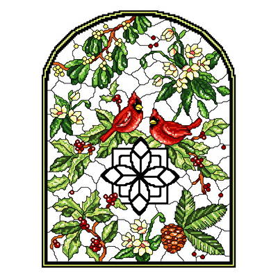 cross stitch pattern Stain Glass Winter
