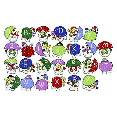 cross stitch pattern Snowman Alphabet