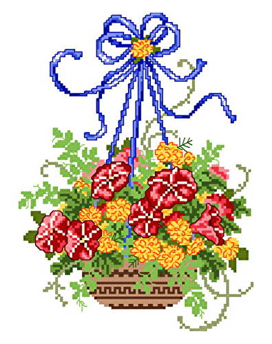 cross stitch pattern Summer Floral Basket