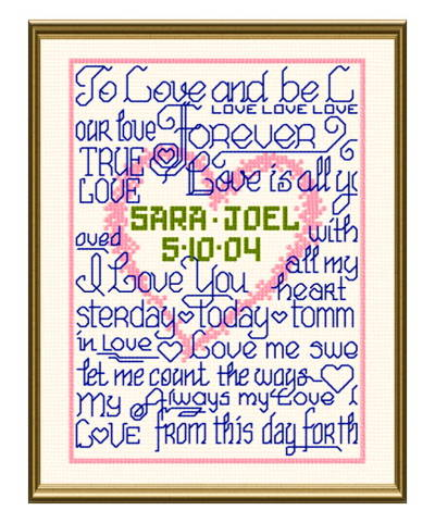 cross stitch pattern True Love Heart