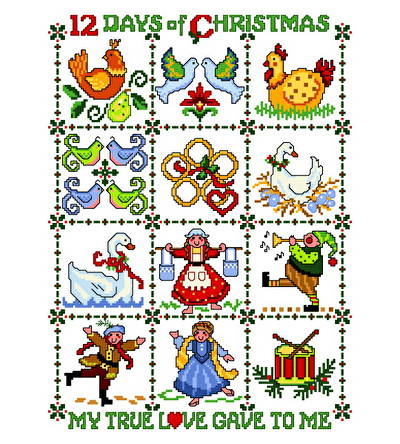 cross stitch pattern Twelve Days