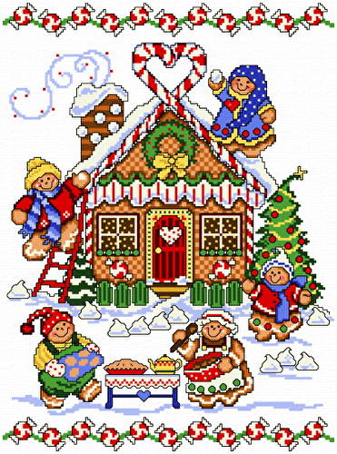 cross stitch pattern Gingerbread House