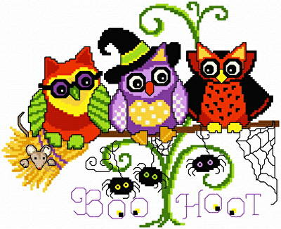 cross stitch pattern Halloween Hoots