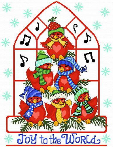 cross stitch pattern Joyous Cardinals