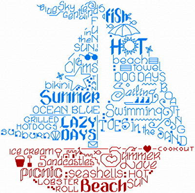 cross stitch pattern Let's Love Summer
